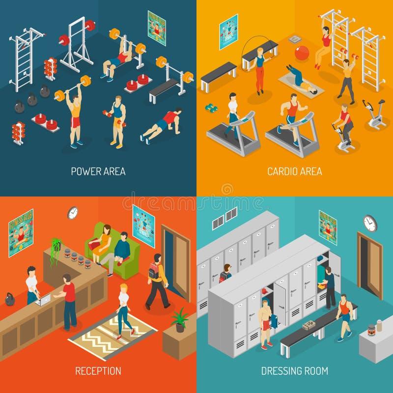 Iconos isométricos del concepto de la aptitud fijados stock de ilustración