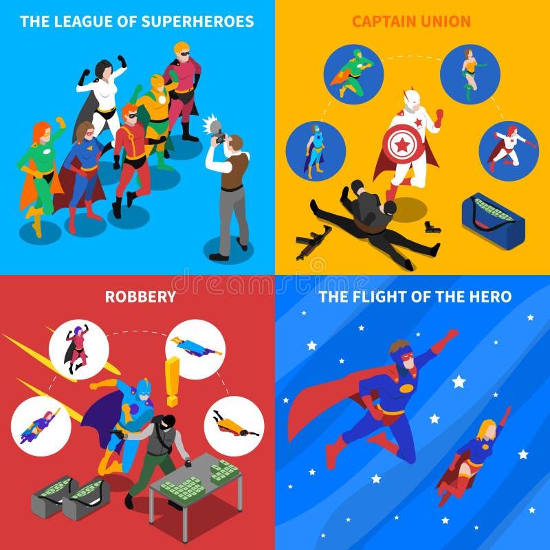 Iconos isométricos del concepto del super héroe fijados ilustración del vector