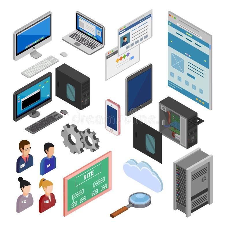 Iconos isométricos del desarrollo libre illustration