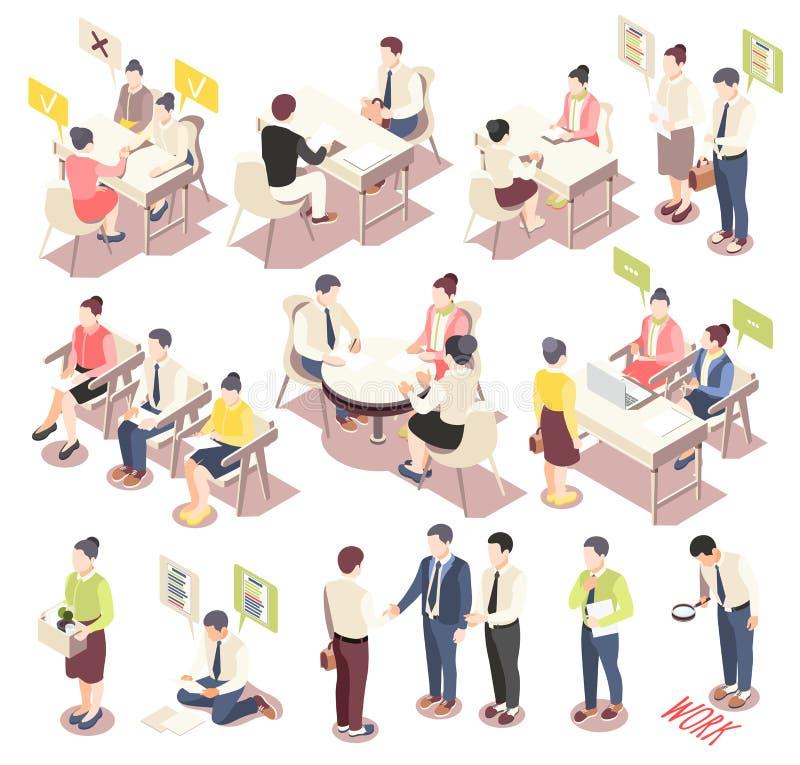 Iconos isométricos del empleo y del reclutamiento ilustración del vector