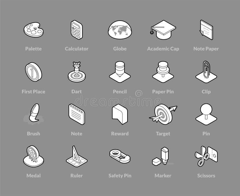 Iconos isométricos del esquema fijados libre illustration