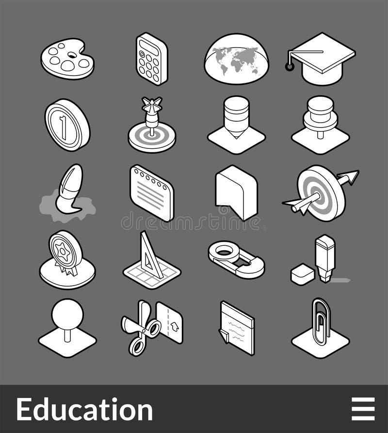 Iconos isométricos del esquema fijados ilustración del vector
