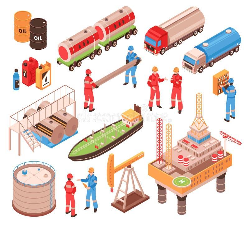 Iconos isométricos del gas de aceite libre illustration
