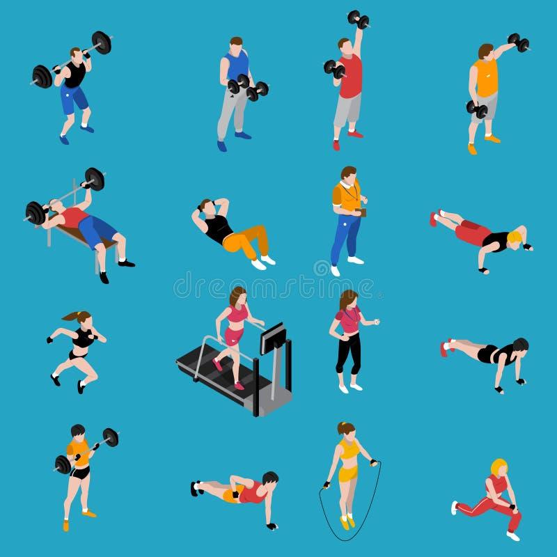 Iconos isométricos del gimnasio fijados stock de ilustración