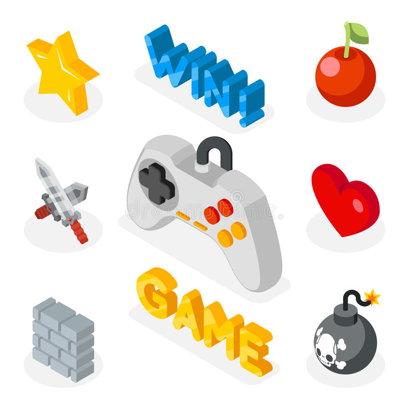 Iconos isométricos del juego icono plano 3D con símbolos de los juegos stock de ilustración