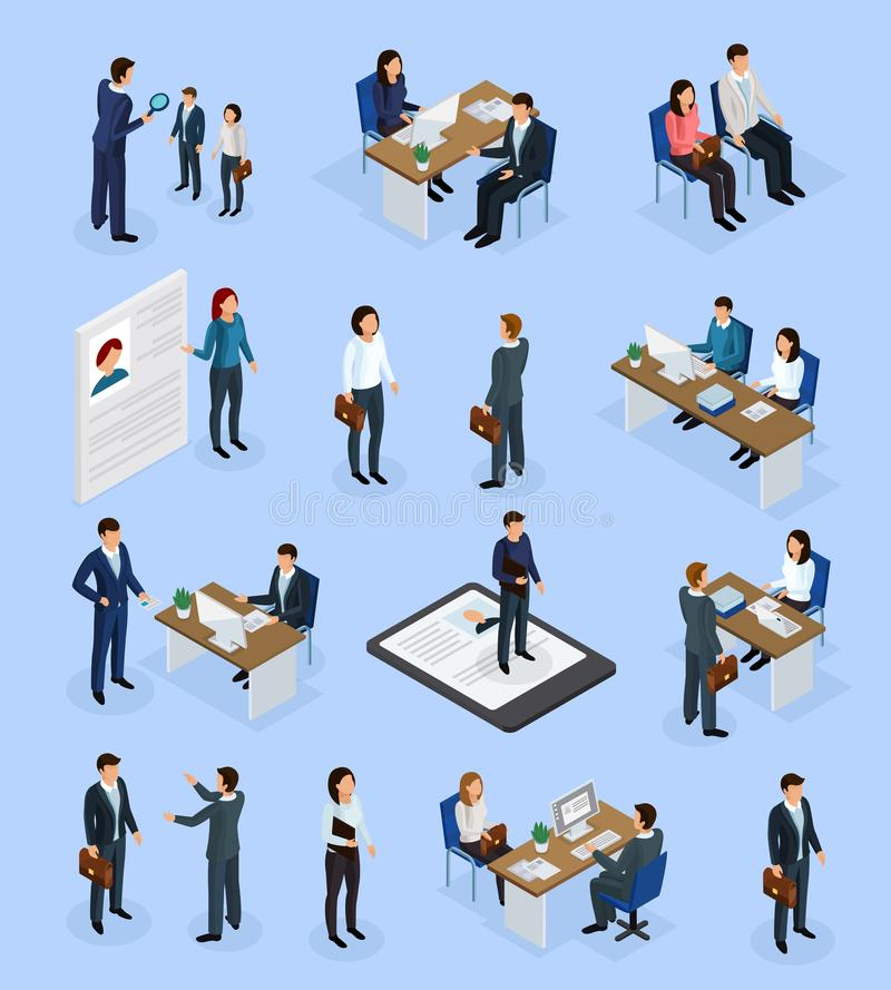 Iconos isométricos del reclutamiento del empleo stock de ilustración
