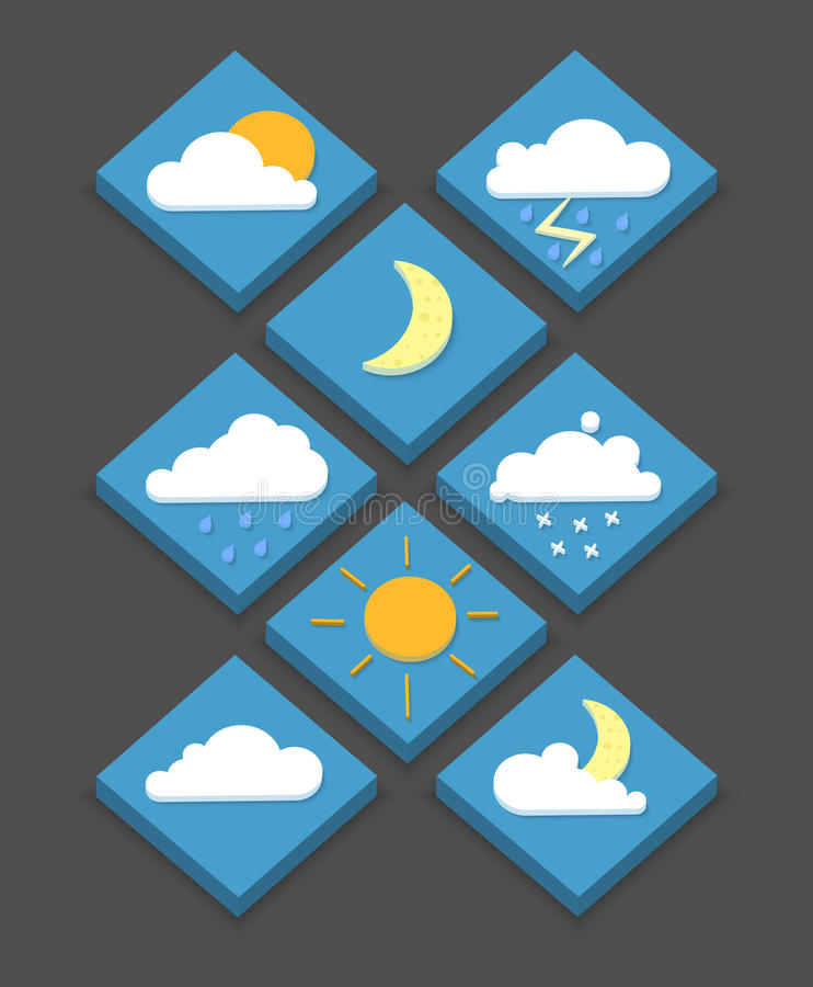Iconos isométricos del tiempo, 3D, ejemplo del vector, estilo moderno, ilustración del vector