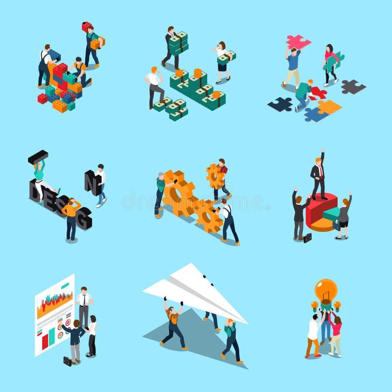 Iconos isométricos del trabajo en equipo fijados stock de ilustración