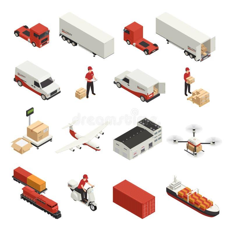 Iconos isométricos del transporte del cargo stock de ilustración