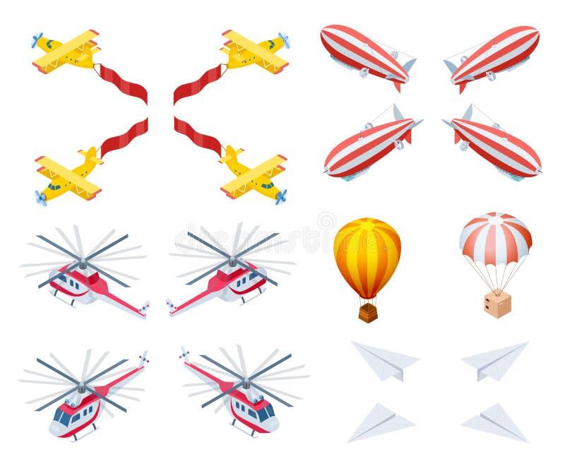 Iconos isométricos del vector de los aviones modernos y retros stock de ilustración