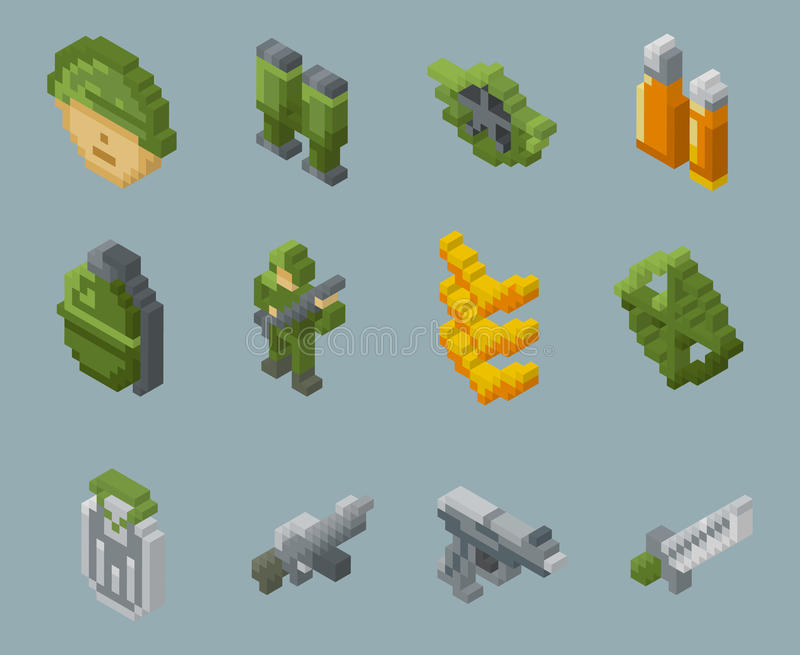 Iconos isométricos del vector de los soldados y de las armas del pixel stock de ilustración