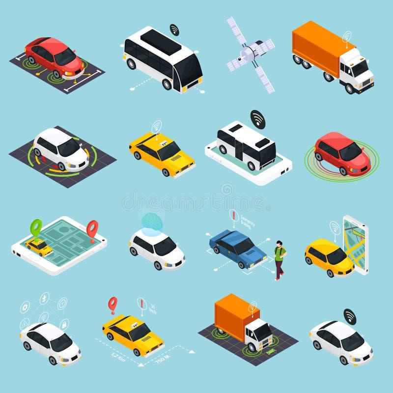 Iconos isométricos del vehículo autónomo fijados ilustración del vector