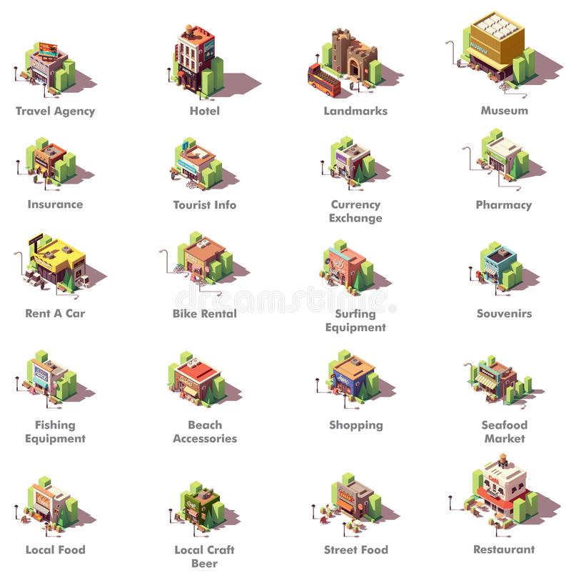 Iconos isométricos del viaje del vector stock de ilustración