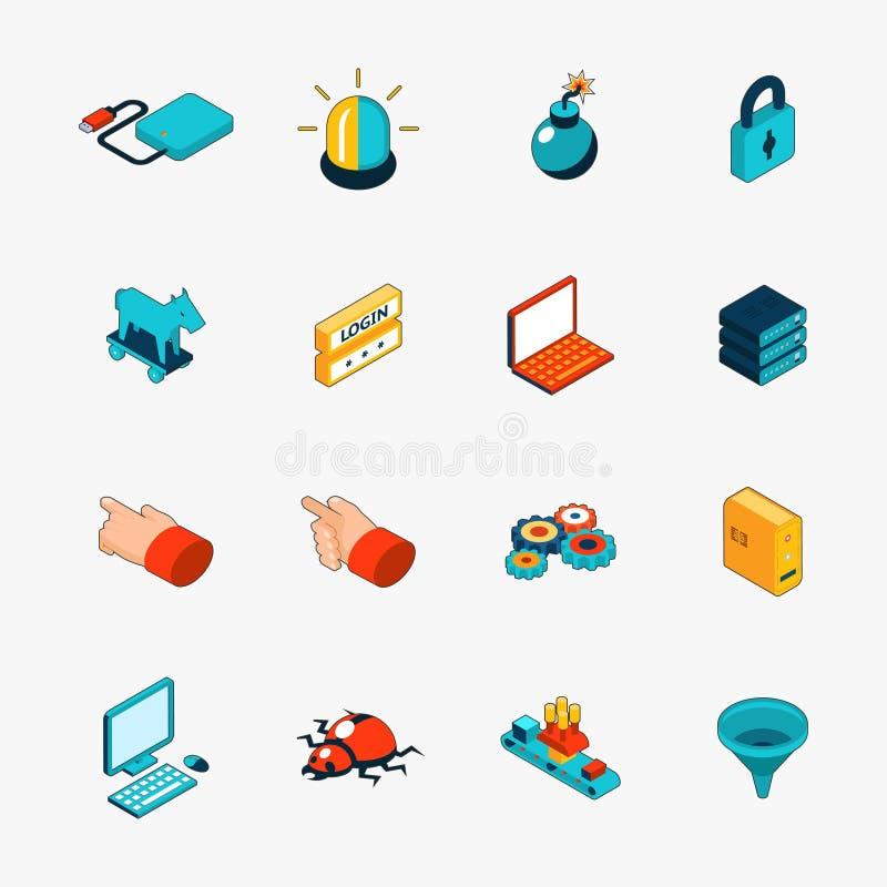 Iconos isométricos del web de la seguridad de Internet 3D ilustración del vector