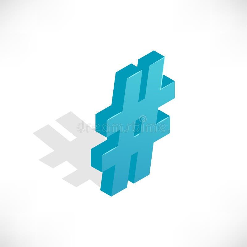 Iconos isométricos Hashtag stock de ilustración