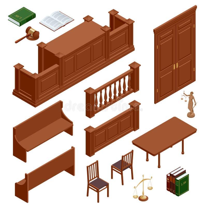 Iconos isométricos planos fijados de las pulseras públicas aisladas juez del mazo de la balanza de los símbolos de la justicia y  libre illustration