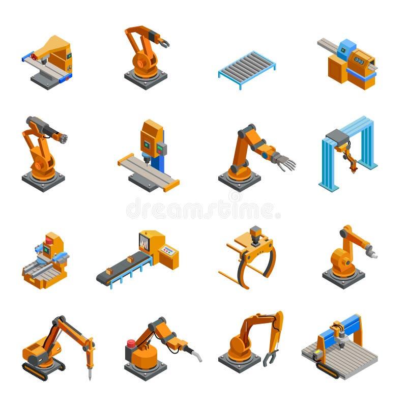 Iconos isométricos robóticos del brazo mecánico fijados ilustración del vector