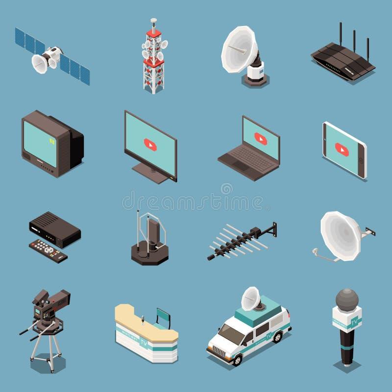 Iconos isom?tricos de la telecomunicaci?n fijados libre illustration