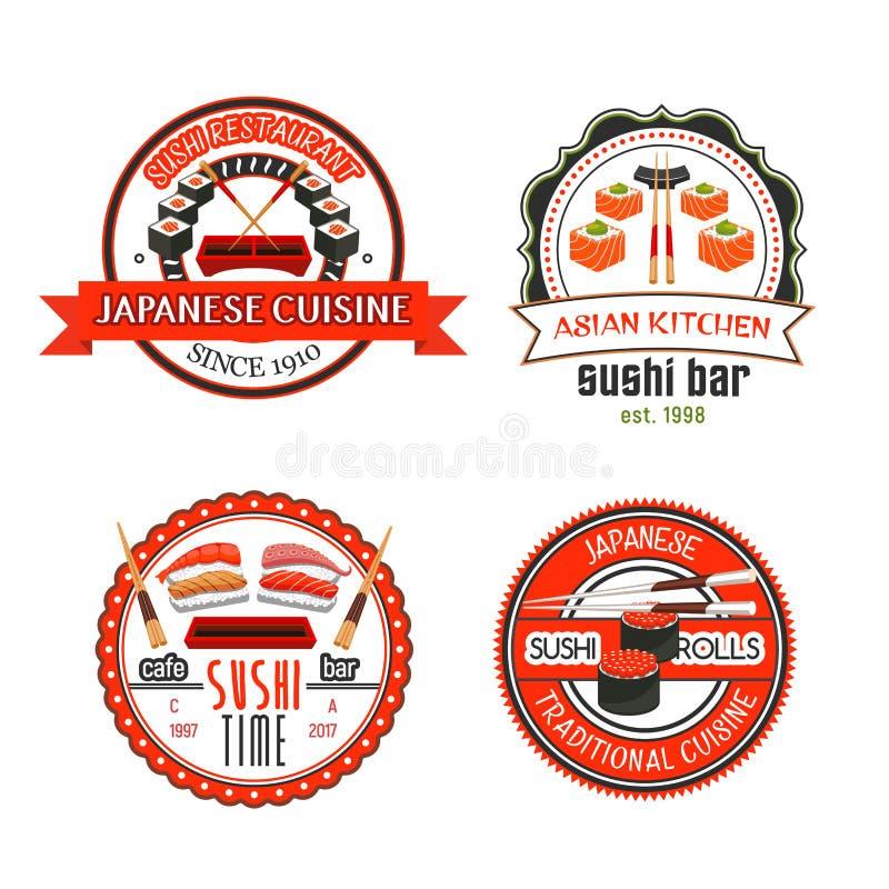 Iconos japoneses de la barra de sushi con la comida asiática ilustración del vector