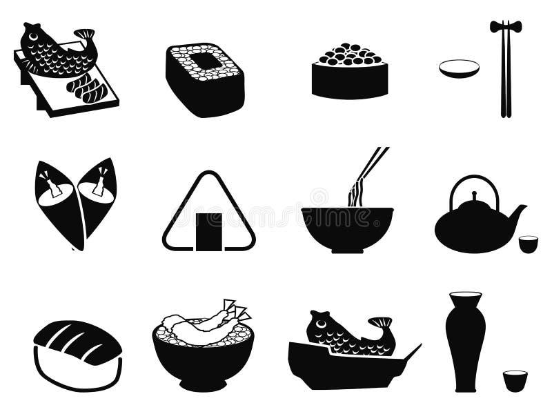 Iconos japoneses de la comida fijados ilustración del vector