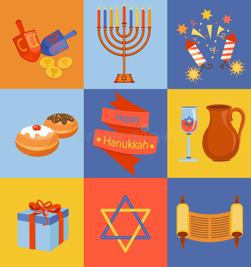 Iconos judíos de Jánuca del día de fiesta fijados ilustración del vector