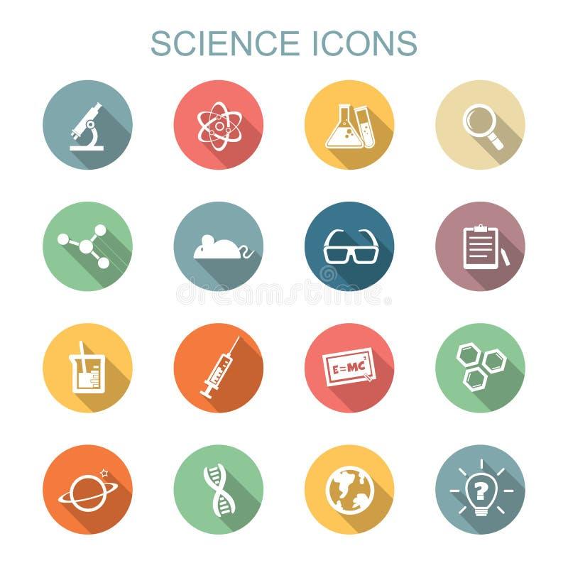 Iconos largos de la sombra de la ciencia stock de ilustración