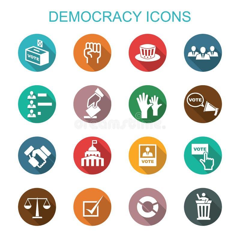 Iconos largos de la sombra de la democracia ilustración del vector