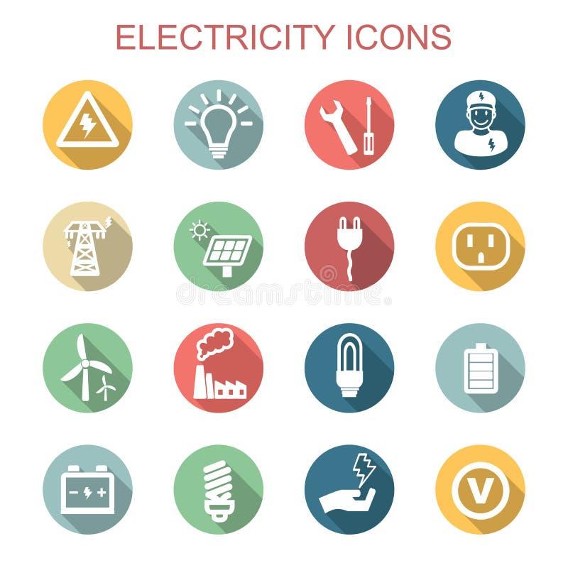 Iconos largos de la sombra de la electricidad libre illustration