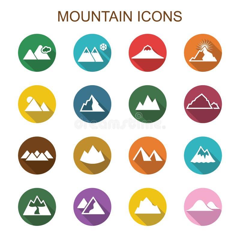 Iconos largos de la sombra de la montaña stock de ilustración