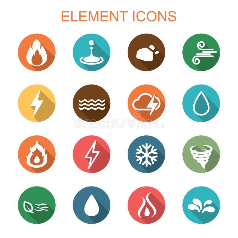 Iconos largos de la sombra del elemento ilustración del vector