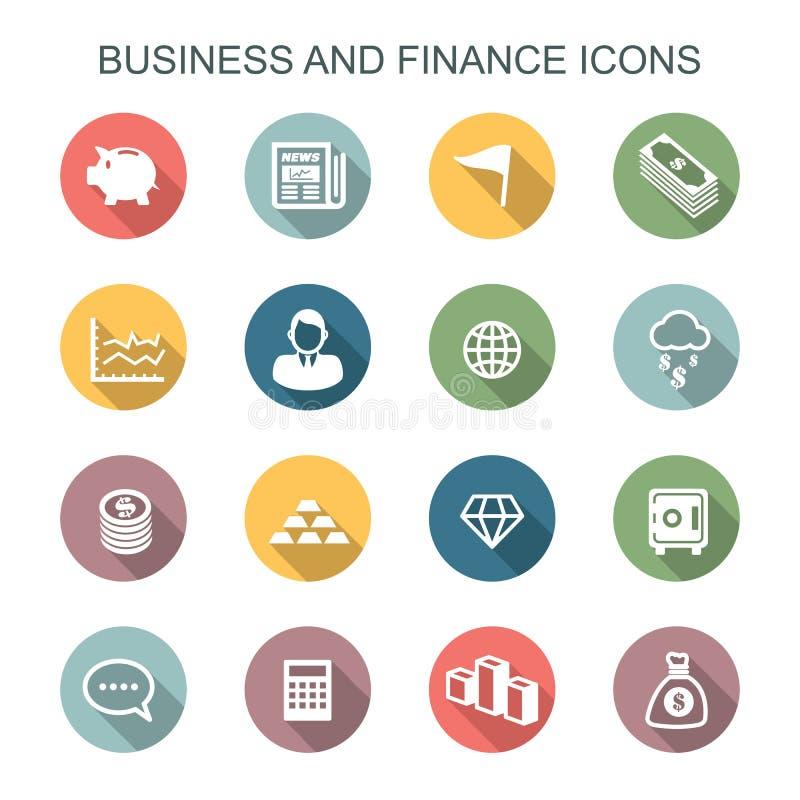Iconos largos de la sombra del negocio y de las finanzas ilustración del vector