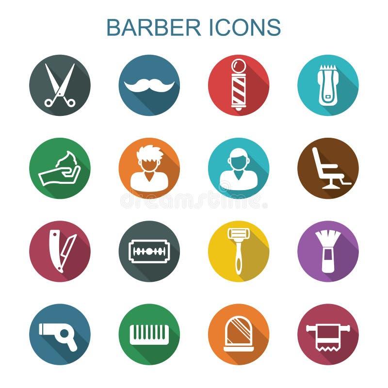 Iconos largos de la sombra del peluquero stock de ilustración