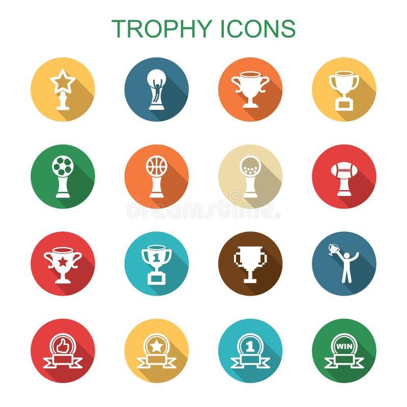 Iconos largos de la sombra del trofeo ilustración del vector