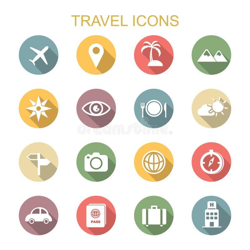 Iconos largos de la sombra del viaje stock de ilustración