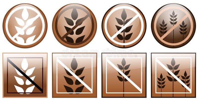 Iconos libres del gluten aislados libre illustration