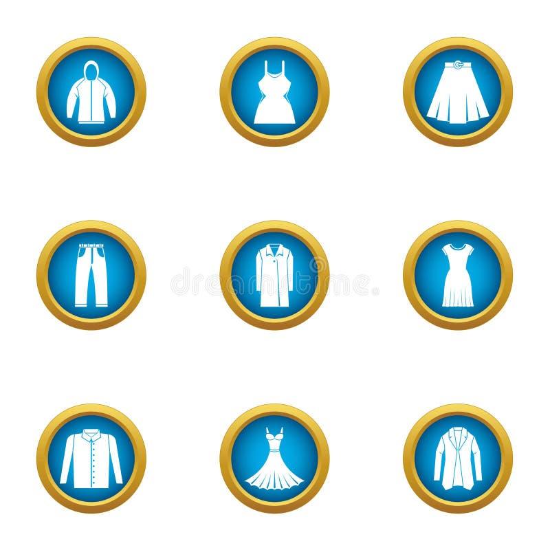 Iconos ligeros fijados, estilo plano de la ropa libre illustration