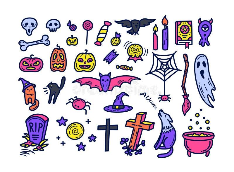 Iconos lindos de Halloween fijados en estilo del garabato stock de ilustración
