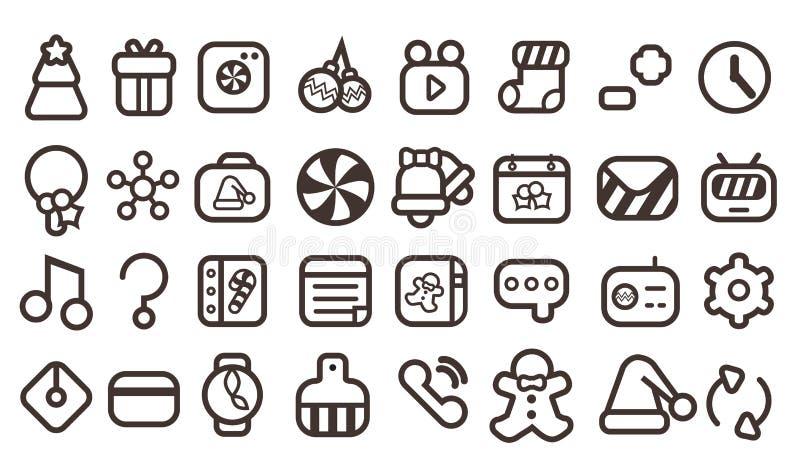 Iconos lindos de la Navidad ilustración del vector