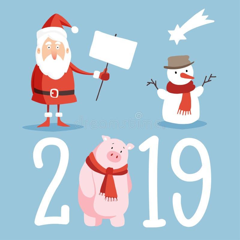 Iconos lindos de la Navidad y del Año Nuevo 2019 fijados Papá Noel con la muestra, el muñeco de nieve y el cerdo del tablero aisl stock de ilustración