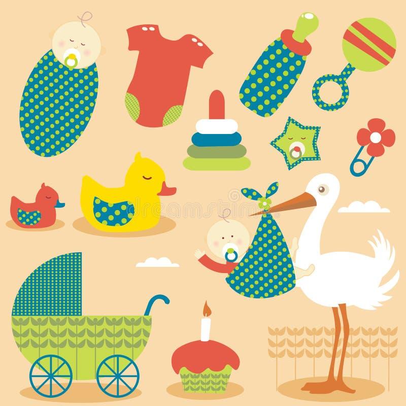 Iconos lindos del bebé ilustración del vector