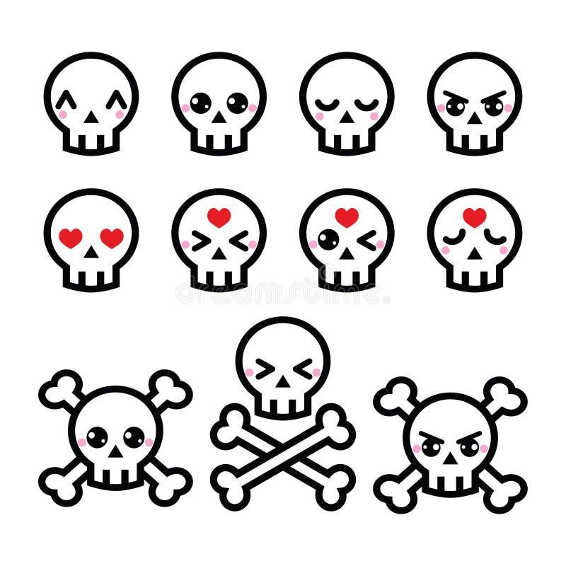 Iconos lindos del cráneo de Kawaii Halloween fijados stock de ilustración