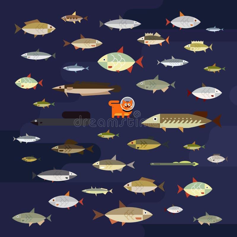 Iconos lindos del ejemplo del vector de los pescados fijados fotografía de archivo libre de regalías