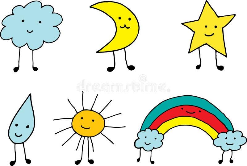 Iconos lindos del tiempo del kawaii Colección de dibujo simple de la historieta del garabato Elementos coloridos Ilustraci?n del  ilustración del vector