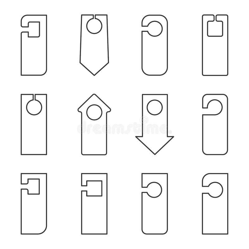 Iconos lineares de diversas formas para las muestras en la puerta en un fondo ligero ilustración del vector