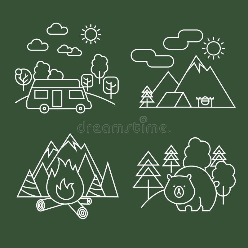 Iconos lineares de la actividad del bosque Vector la línea fina fauna y el paisaje del parque con el oso ilustración del vector