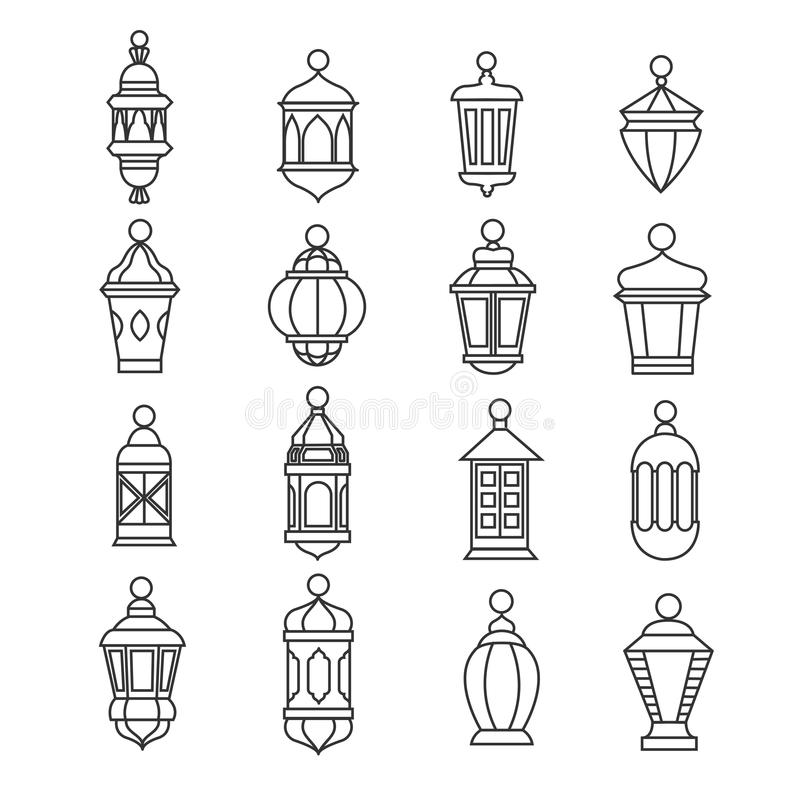 Iconos lineares de la linterna del vintage del Ramadán Símbolos antiguos musulmanes de la lámpara del vector libre illustration