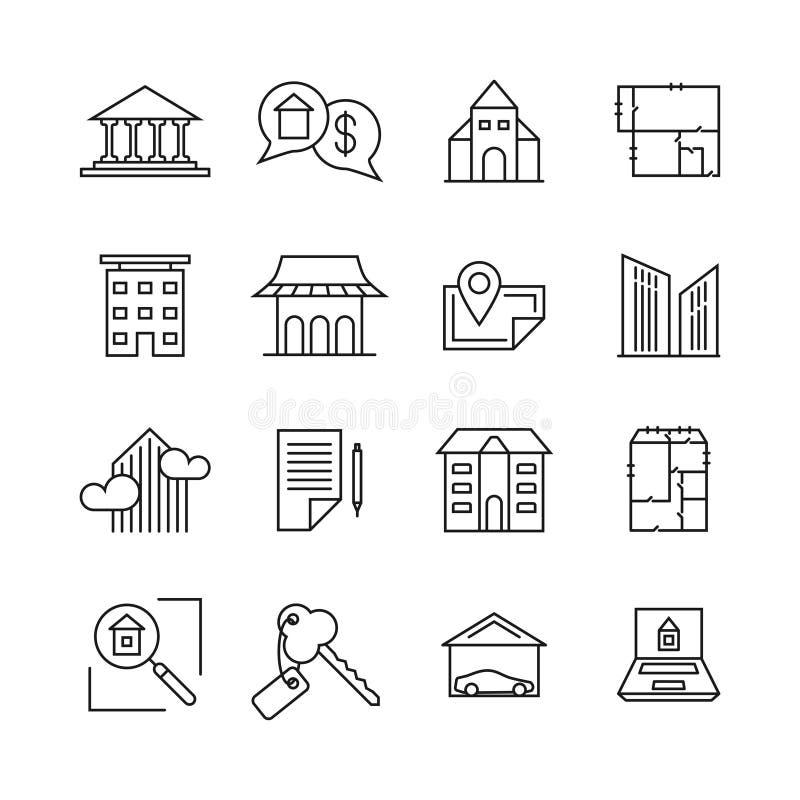 Iconos lineares de la propiedad inmobiliaria comercial Propiedad para la línea muestras de la venta ilustración del vector