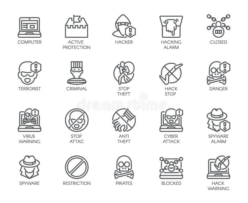 Iconos lineares de la protección virtual, cyberattacks, virus de ordenador, cortando tema 20 etiquetas del esquema aisladas en bl ilustración del vector