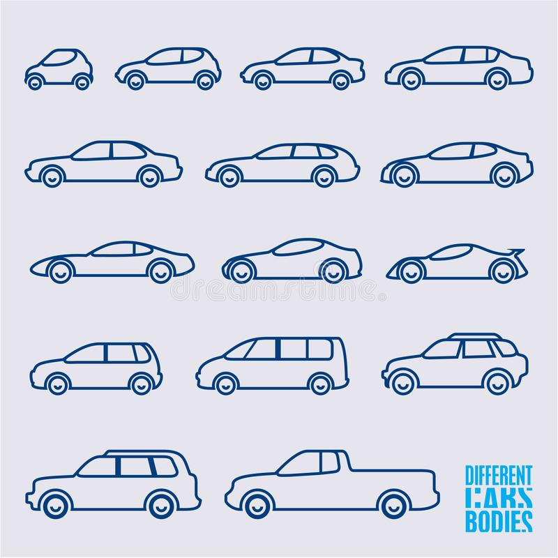 Iconos lineares de los coches fijados ilustración del vector