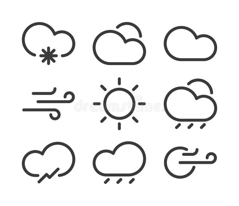 Iconos lineares del tiempo stock de ilustración